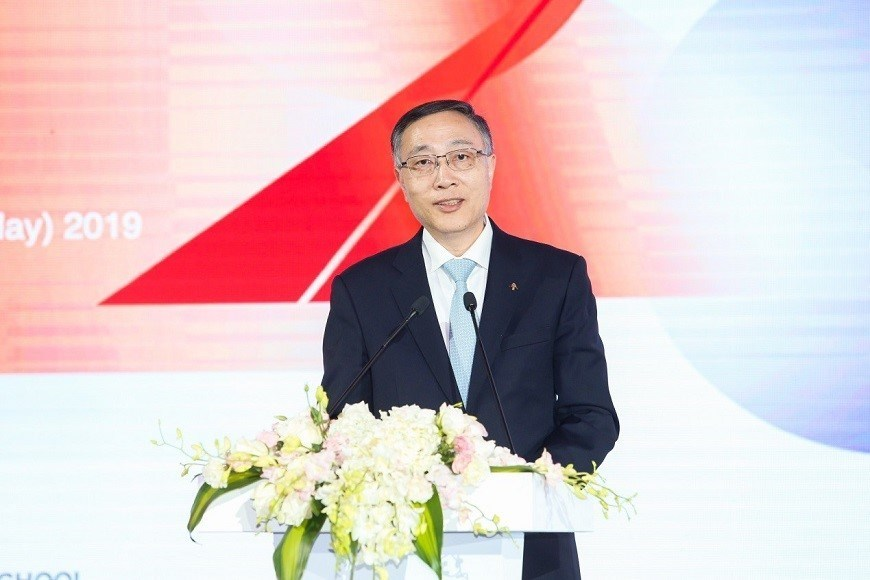 CEIBS President Li Mingjun during his speech from the Beijing Campus.