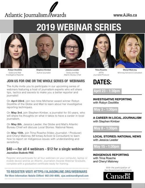 Atlantic Journalism Awards 2019 Webinar Series 3 (CNW Group/Atlantic Journalism Awards)