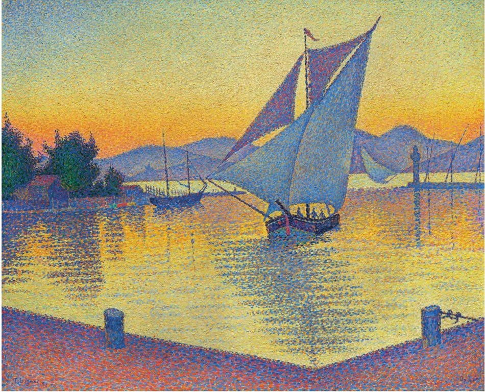 Paul Signac (1863-1935), Le Port au soleil couchant, Opus 236 (Saint-Tropez) (1892)
