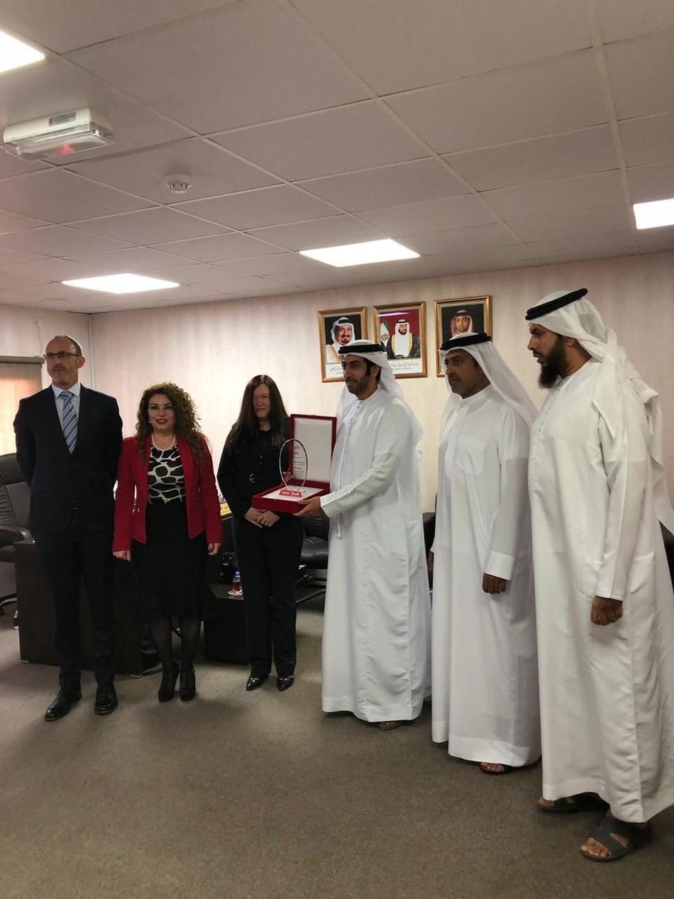 HE Shiekh Abdullah Bin Naser Al Nouaimi, the president of Ajman Economic Development Department with Danfoss Team