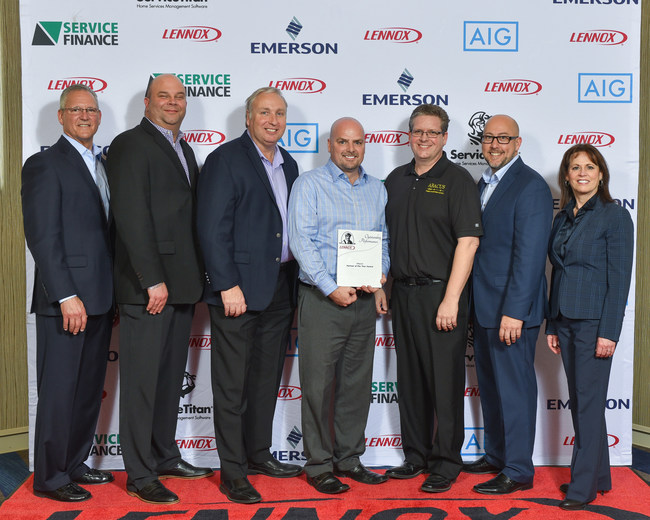 Left to right: Mike Hart, Lennox VP of Sales; Paul Boartz, Lennox District Manager; Alan O'Neill, Abacus CEO; Lance Ellison, Abacus HVAC Operations; Mike Myers, Abacus Director of Marketing; Scott Lindsey, Lennox Sales Director, West; Kim McGill, Lennox VP of Marketing