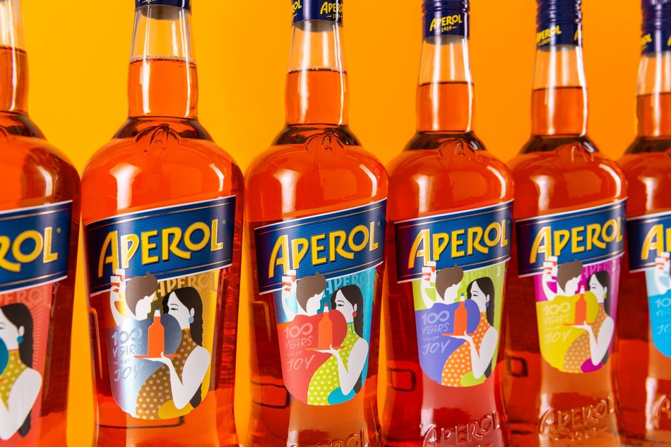 Aperol's bespoke limited edition bottles; each entirely unique and created in celebration of the brand's centenary in 2019 (PRNewsfoto/Aperol)