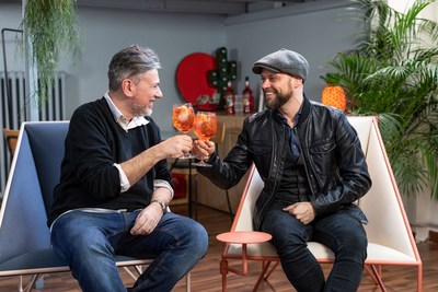 Sergio Gerasi and Tito Faraci discussing their graphic novel 'Orange Chronicles' celebrating 100 years of joyful connections sparked with Aperol