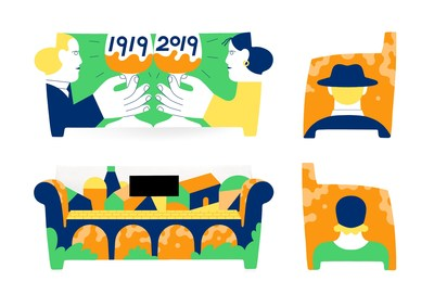 Sneak Peak of 'Grazie Veneto' (Thank You Veneto) sofa design by British artist Dominic Kesterton in celebration of Aperol's 100 years in sparking joyful connections   Credit Dominic Kesterton