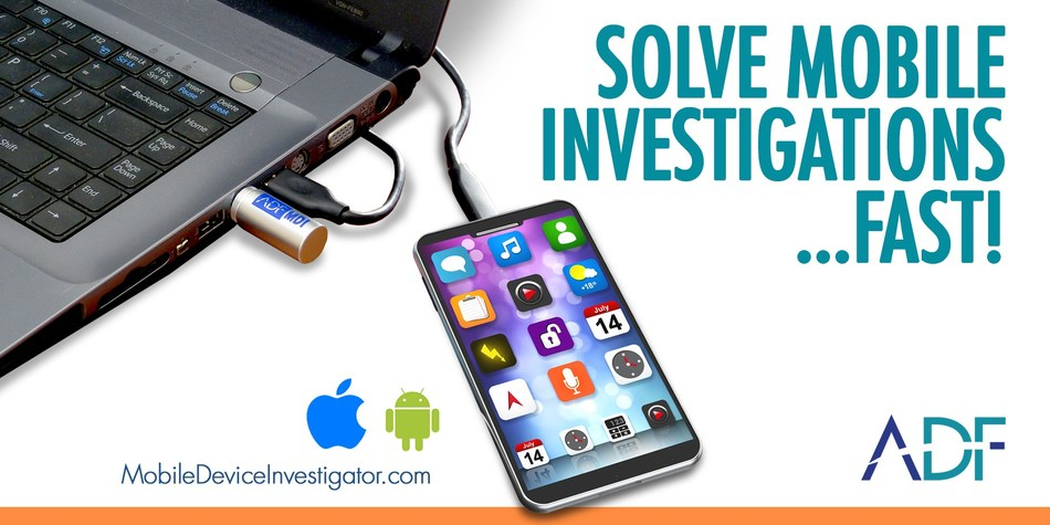 Mobile Device Investigator is the newest digital forensic software from ADF Solutions, makers of triage, computer forensic and media exploitation software.  Visit www.mobiledeviceinvestigator.com to get a free trial and start solving your mobile investigations fast.