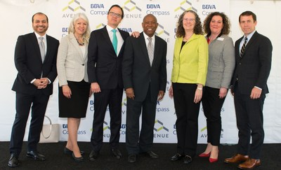 (Left to Right) BBVA Compass Director of Communications and Responsible Business Rey Ocañas, Houston City Councilwoman Karla Cisneros, BBVA Compass CEO and Country Manager Javier Rodriguez Soler, Houston Mayor Sylvester Turner, Avenue Executive Director Mary Lawler, Avenue Board of Trustees President Cassandra Silvernail, and Houston Housing and Community Development Director Tom McCasland at the Avenue Center groundbreaking press conference.