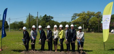 (Left to Right) BBVA Compass Director of Communications and Responsible Business Rey Ocañas, Avenue Board of Trustees President Cassandra Silvernail, BBVA Compass CEO and Country Manager Javier Rodriguez Soler, Houston Mayor Sylvester Turner, Houston City Councilwoman Karla Cisneros, Avenue Executive Director Mary Lawler, Houston Housing and Community Development Director Tom McCasland, BBVA Compass Houston CEO Mark Montgomery, and BBVA Compass Director of Community Lending Mortgage Viola Solomon ceremonially break ground at the Avenue Center press conference on Monday, April 15, 2019.