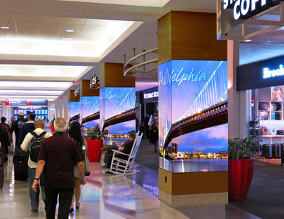 Clear Channel Airport's new ad program at the Philadelphia Intl. Airport compliments terminal aesthetics and optimizes space to connect and engage with travelers.