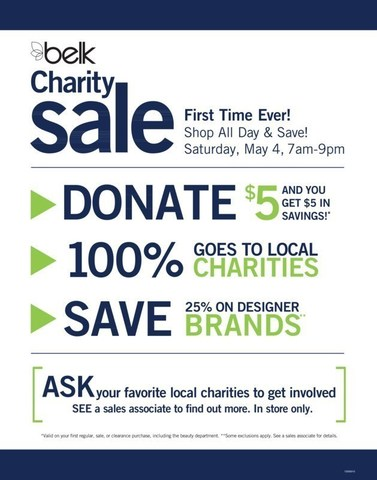 Shop all day and save at the Belk Spring Charity Sale on Saturday, May 4!