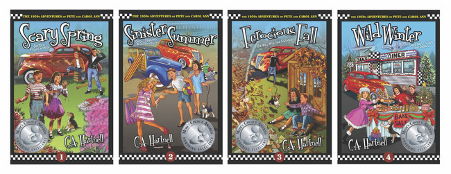 Author C.A. Hartnell's award-winning, historical fiction four-book series, The 1950s Adventures of Pete and Carol Ann, including Scary Spring, Sinister Summer, Ferocious Fall, and Wild Winter, takes readers on a blast through her past as a child growing up in El Monte, California.