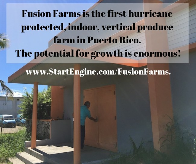 Front door to the First Hurricane-Protected Vertical Farm In Puerto Rico