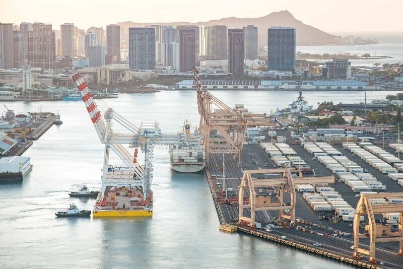 Matson's new cranes arrive at Honolulu terminal.
