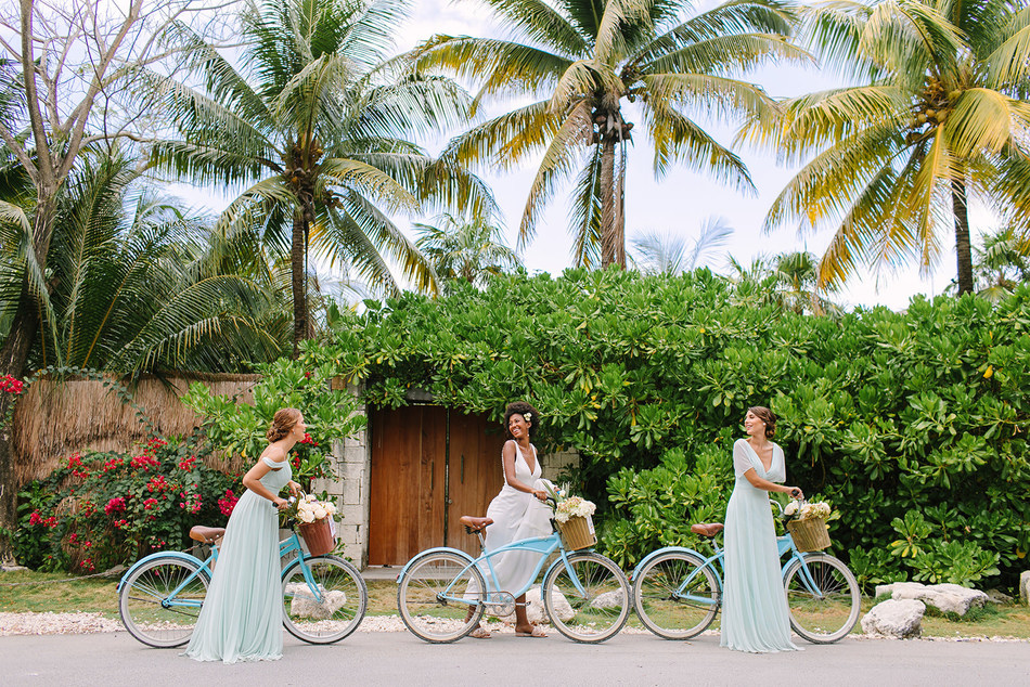 Pro Tip: Rent bicycles for fun photos with your bridal party