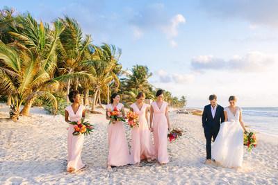 Blushing Bridesmaids on the Beach