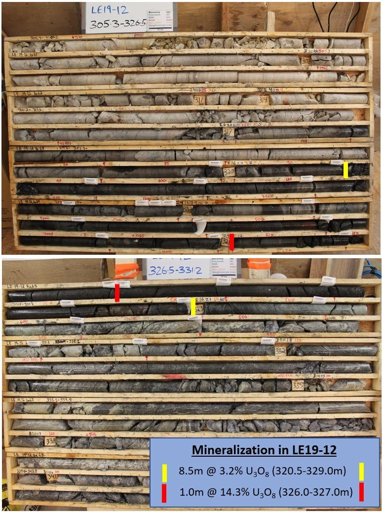 Figure 5 – Core Photos of Mineralization in Drill Hole LE19-12 (CNW Group/IsoEnergy Ltd.)