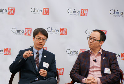 iQIYI CTO Liu Wenfeng (Left) speaks about the value of AI to the entertainment industry at China Institute 2019 Executive Summit.