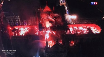 Notre-Dame Cathedral in Paris on fire ? Photo: Paris Fire Brigade