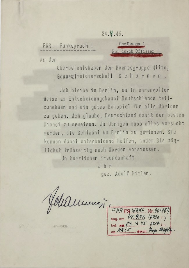 "HITLER DECLARES HIS FINAL PLAN: ""I SHALL REMAIN IN BERLIN..."" Historic telegram sent by Hitler to Field Marshal FERDINAND SCHORNER who begged him to leave Berlin: ""I shall remain in Berlin, so as to take part...in the decisive battle for Germany, and to set a good example to all those remaining...in this way I shall be rendering Germany the best service...."" Hitler committed suicide days later. Alexander Historical Auctions Sale Apr. 30 2019"