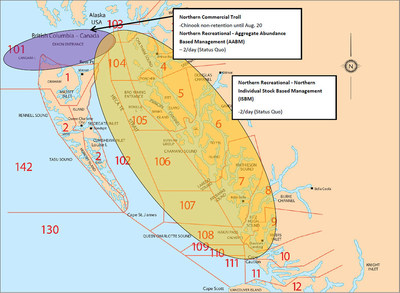 Fraser Chinook Management Measures in Southern and Northern BC Fishery Areas (CNW Group/Fisheries and Oceans (DFO) Canada)