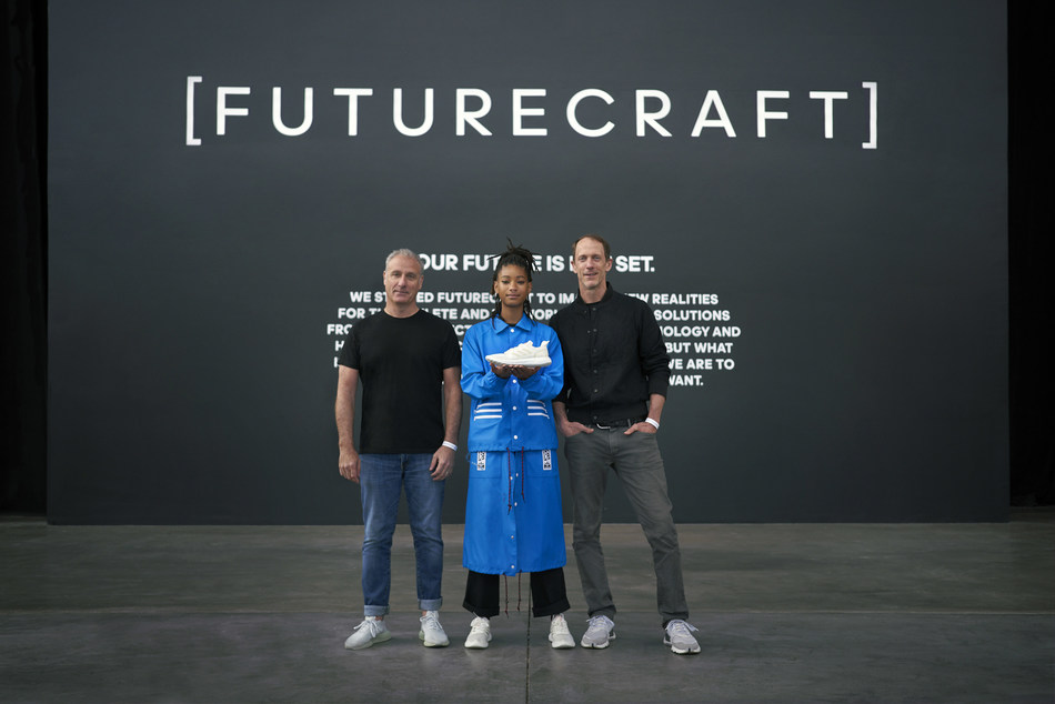 Willow Smith, Paul Gaudio and Eric Liedtke come together to reveal FUTURECRAFT.LOOP - a 100% recyclable running shoe (PRNewsfoto/adidas)