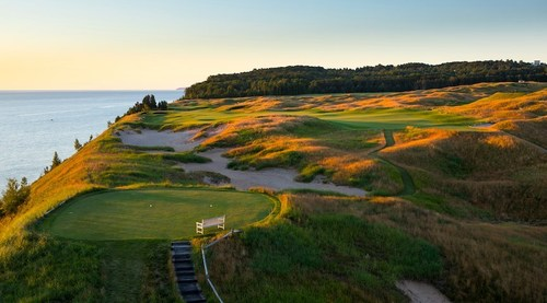 Aerial view of Arcadia Bluffs Golf Club located in Arcadia, Michigan. Photo credit: Nile Young Photography.