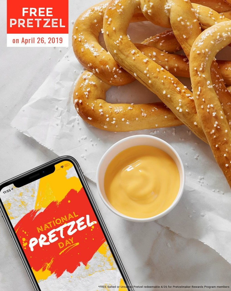 Free Pretzel at Pretzelmaker for Rewards Members on National Pretzel Day!