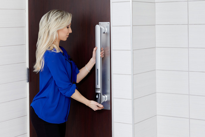 PullClean from OpenClean Technologies. Door Handle that Dispense Hand Sanitizer Makes Hand Sanitizing Easy, Intuitive and Accessible.