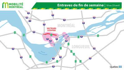 Carte générale des entraves, du 18 au 23 avril (Groupe CNW/Ministère des Transports)