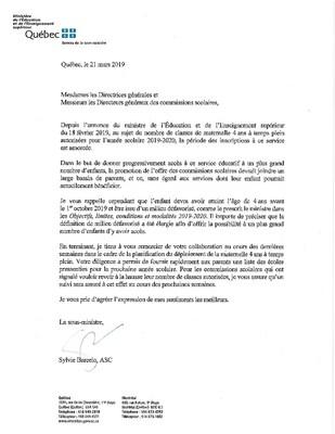 Lettre du ministère - Maternelle 4 ans (Groupe CNW/Cabinet du ministre de l'Éducation et de l'Enseignement supérieur)