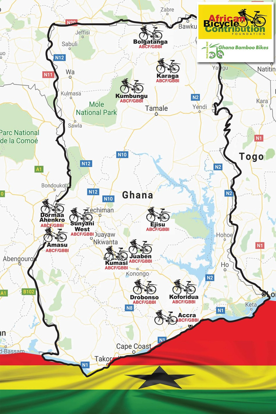 Map of Ghana with ABCF/GBBI icons marking bamboo bike distribution sites (April 18, 2019).