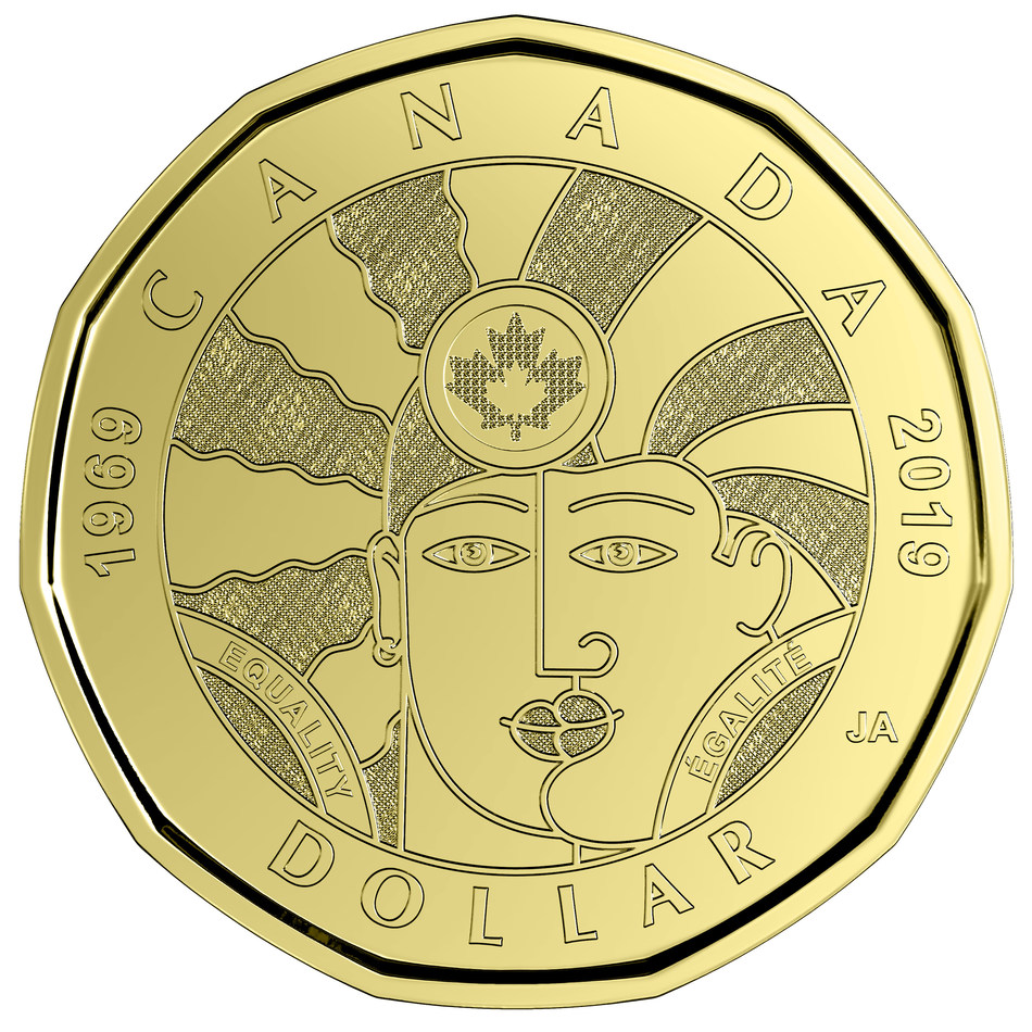 The 2019 $1 Equality circulation coin (CNW Group/Royal Canadian Mint)