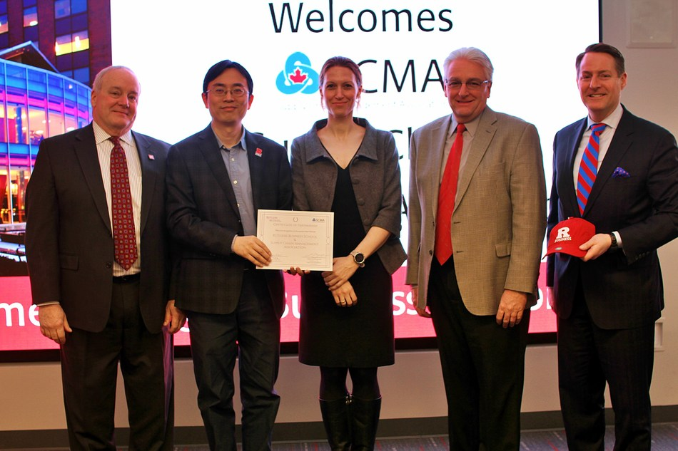 Andy Gogates, manager of corporate relations at Rutgers Business School (far left), poses with Professor Lian Qi and Jim King, senior director, Rutgers Business School Office of Career Management, as well as Danielle Parizeau, consul (migration), Consulate General of Canada-NY and Christian Buhagiar, president and CEO, SCMA. (far right)