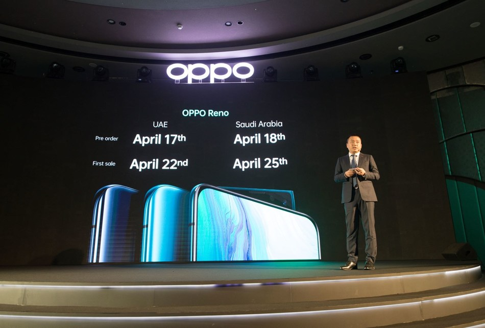 OPPO Reno Pre-order and First Sale dates announced by Andy Shi, President, MEA, OPPO