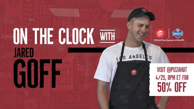"Pizza Hut is teaming up with Los Angeles Rams Quarterback Jared Goff to put fans ""on the clock"" during the 2019 NFL Draft to redeem 50% off all menu-priced pizzas and a chance to win a VIP trip to a 2019-2020 NFL regular season game. The limited-time deal will be released via Pizza Hut and Jared Goff's social channels during the first overall pick of the 2019 NFL Draft."