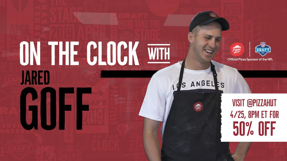 """Pizza Hut is teaming up with Los Angeles Rams Quarterback Jared Goff to put fans """"on the clock"""" during the 2019 NFL Draft to redeem 50% off all menu-priced pizzas and a chance to win a VIP trip to a 2019-2020 NFL regular season game. The limited-time deal will be released via Pizza Hut and Jared Goff's social channels during the first overall pick of the 2019 NFL Draft."""