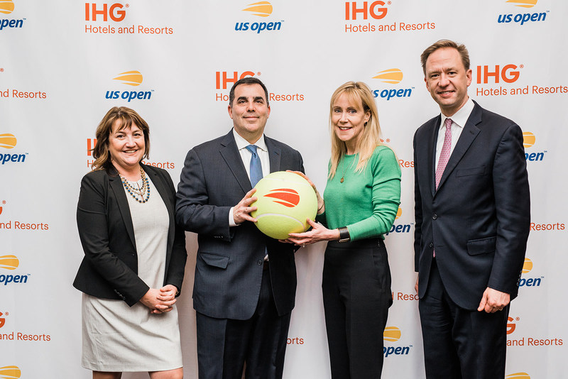 IHG® Hotels & Resorts Named official hotel and hotel loyalty partner of the US Open Tennis Championships. (L to R) Deanne Pownall, Managing Director, Partnership Marketing, USTA; Lew Sherr, Chief Revenue Officer, USTA; Claire Bennett, Chief Marketing Officer, IHG; Christian Hempell, Senior Vice President, Global Loyalty & Partnerships, IHG.