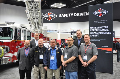 Top row right to left: Daryl Adams,  President and CEO Spartan Motors, Todd Fierro, President Spartan Emergency Response. Bottom row left to right: Diego Salazar VP Global Sales, Spartan Motors, Rady Adams, Chief, Wayne Township Fire Department, Chuck Jones, Trustee, Wayne Township Fire Department, Mike Lang, Deputy Chief of Administration, Wayne Township Fire Department, Tim Swartz, VP Operations, Hoosier Fire Equipment