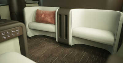 New purpose-built personal ottomans at each seat will encourage interaction and connection.