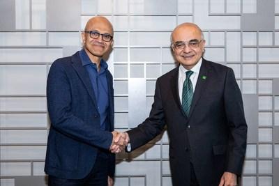 Bharat Masrani, président du Groupe et chef de la direction de la Banque TD, et Satya Nadella, chef de la direction de Microsoft, ont annoncé aujourd'hui une relation stratégique visant à accélérer et à alimenter des expériences bancaires nouvelles et novatrices. (Groupe CNW/Groupe Banque TD)