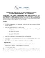 Wallbridge Assays 2.81 g/t Gold over 98.91 metres including 15.93 g/t Gold over 11.22 metres Confirming Significance of Area 51 Zone Discovery (CNW Group/Wallbridge Mining Company Limited)