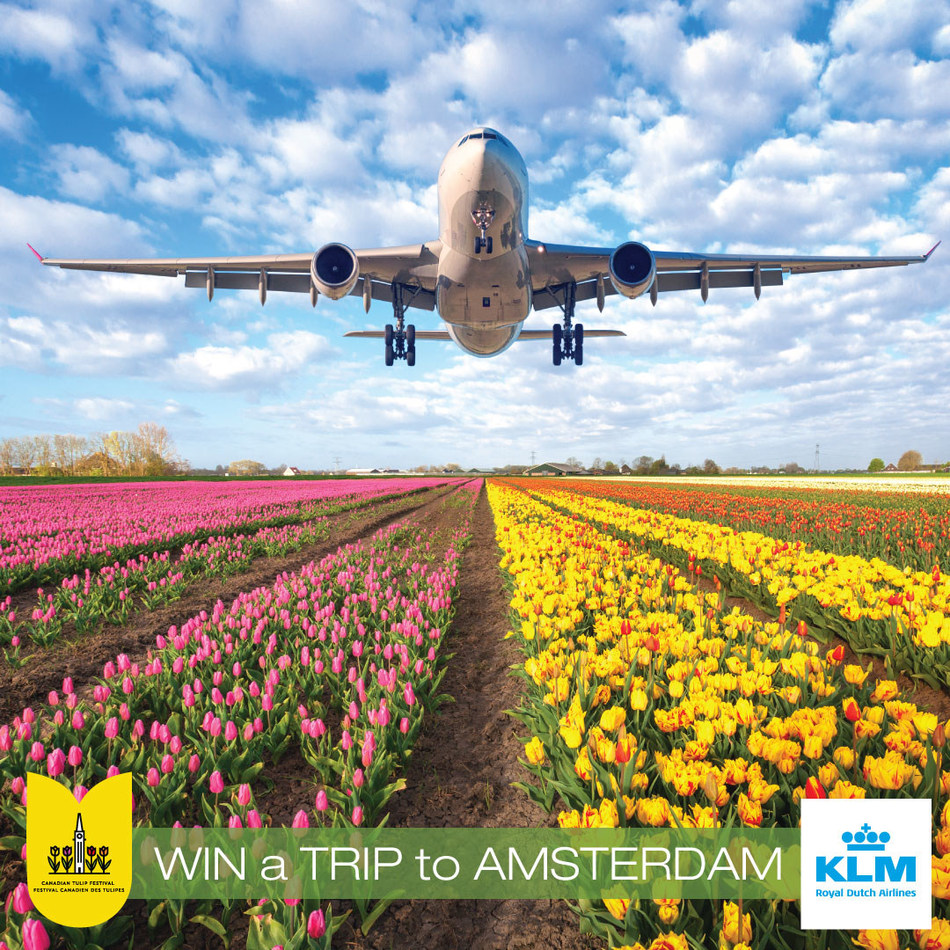 Grand Prize Raffle; A Trip for 2 to Amsterdam, plus $1000 Cash, from KLM Dutch Royal Airlines (CNW Group/Canadian Tulip Festival)