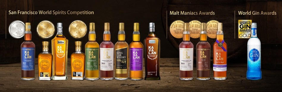 Kavalan Distillery won another haul of medals at the recent SFWSC, MMA and World Gin Awards. (PRNewsFoto/Kavalan)