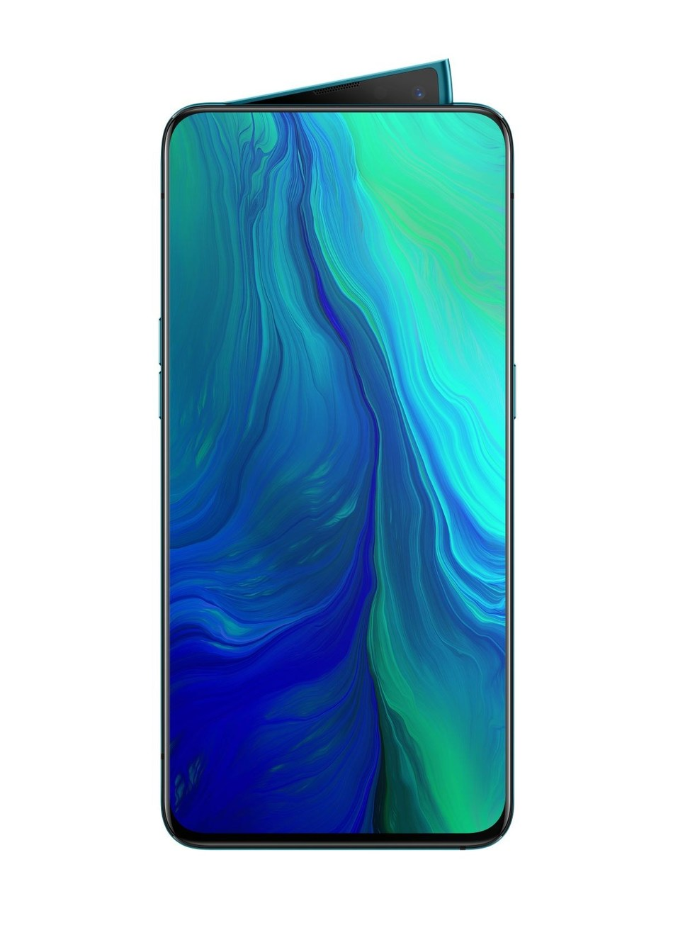 OPPO Reno in Ocean Green featuring a Notch-less Full Panoramic Screen and a Pivo (PRNewsfoto/OPPO)