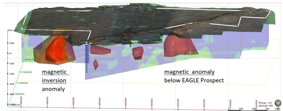 Figure 1: Oblique view to the North-northwest of the Sholl tenements with property boundary indicated in white and inversion anomalies in red polygons. (CNW Group/NxGold Ltd.)