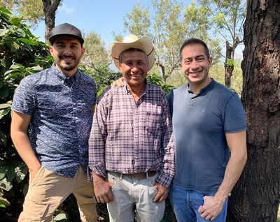 Max Perex, Don Nayo, and Martin Mayorga (left to right) on Don Nayo's farm in Acatenango Valley, Guatemala. Credit: Mayorga Organics