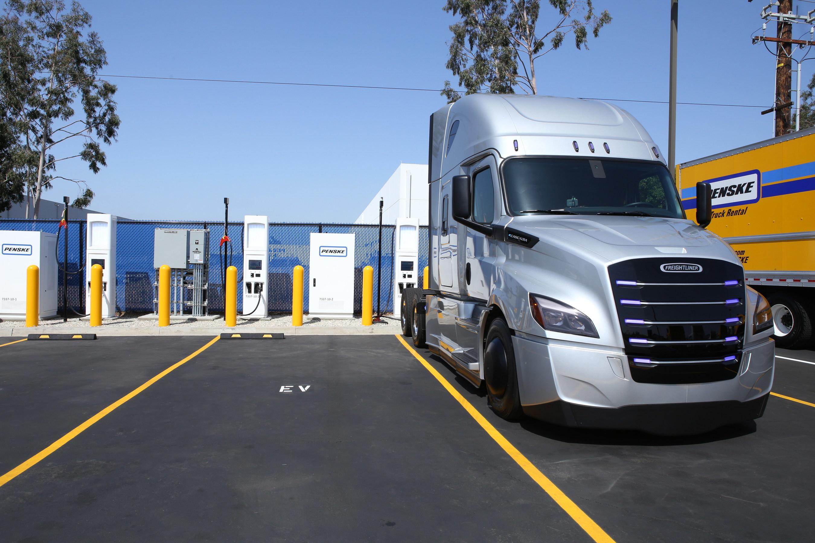 Penske Truck Leasing commercial heavy-duty electric vehicle charging station in La Mirada, CA.