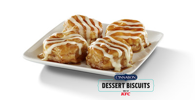 The Cinnabon Dessert Biscuit is a delicious mashup of two iconic brand classics: KFC's flaky biscuit topped with Cinnabon's mouthwatering cinnamon brown sugar glaze and signature cream cheese frosting.