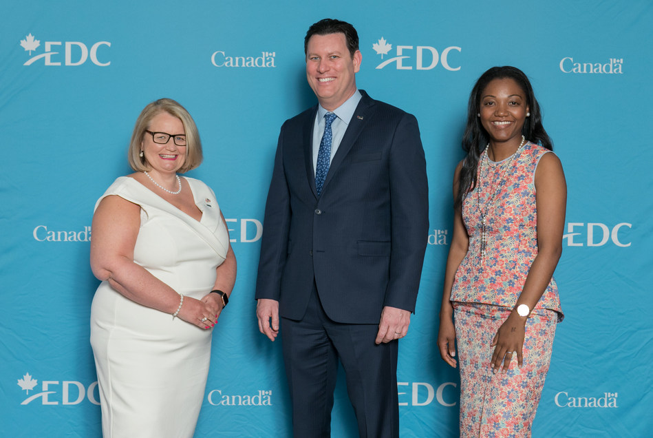 From Left to Right: Mairead Lavery, Export Development Canada's President and CEO, Michael Gonsalves, EDC's Senior Regional Manager in Atlanta, and Christelle Shirandi, EDC's Coordinator in Atlanta, celebrate the launch of EDC's new representation in Atlanta – the corporation's first on American soil. (CNW Group/Export Development Canada)