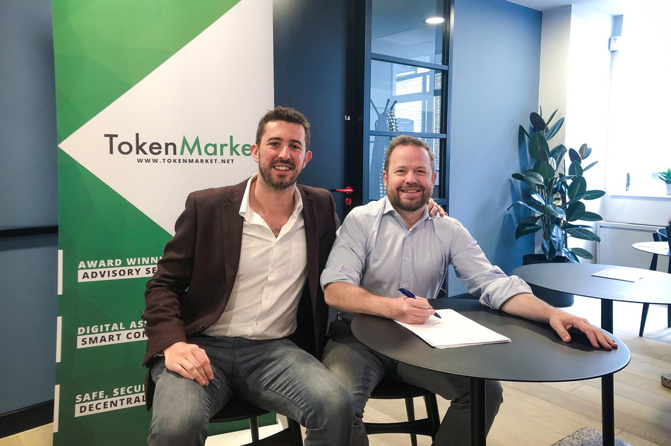 TokenMarket UK Managing Director Ryan Hanley (left) welcomes Townsend Lansing (right) to the team