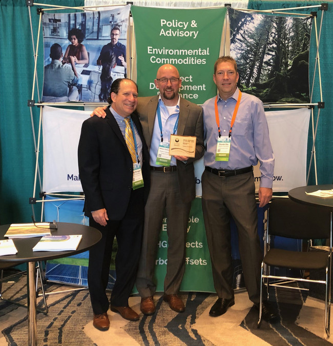 ClimeCo is Selected as Project Developer of the Year by CAR. In picture: Andy Kruger, Sr Director, Environmental Markets; William Flederbach, President and CEO; Derek Six, Chief Business Officer